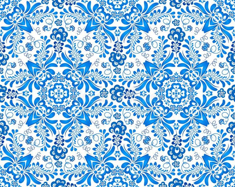Blaues nahtloses mit Blumenmuster im russischen gzhel vektor abbildung