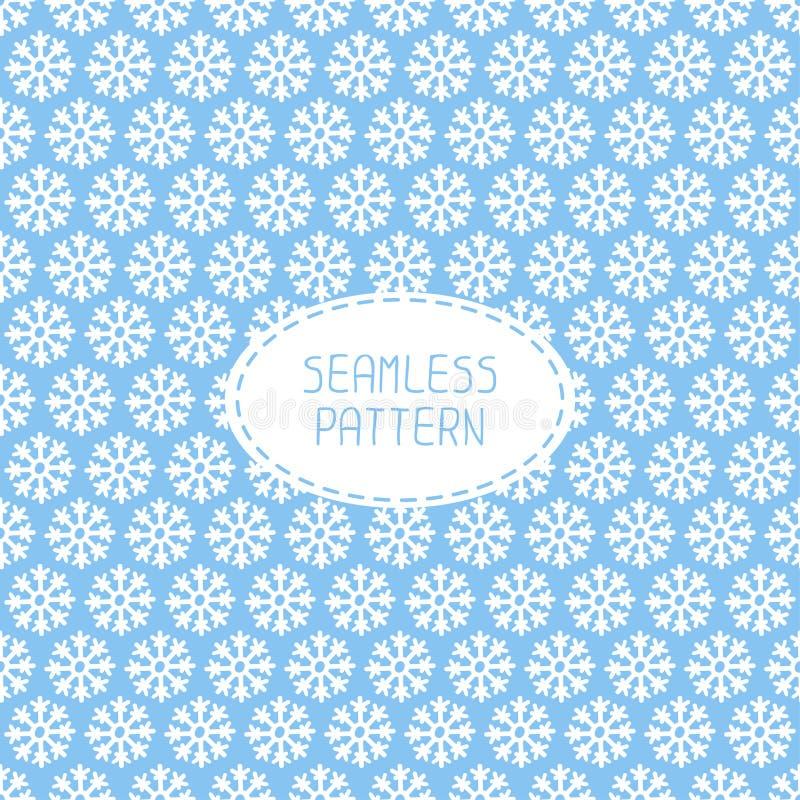 Blaues nahtloses Schneeflockenmuster Vektorschnee lizenzfreie abbildung