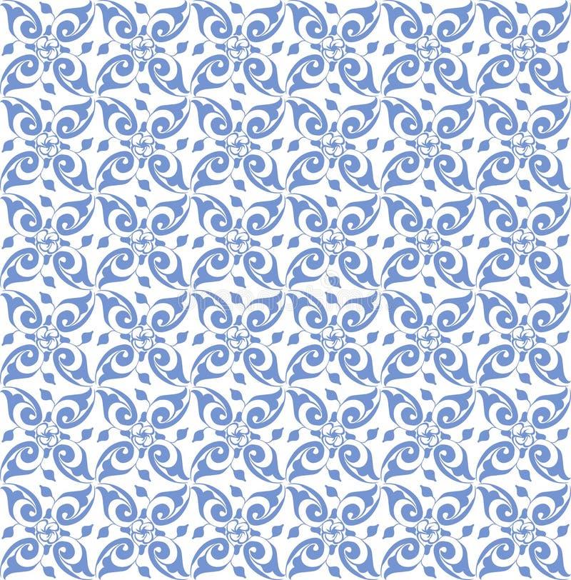 Blaues nahtloses Vektormuster angespornt durch azulejos vektor abbildung