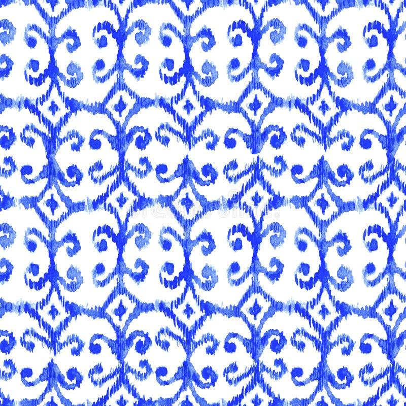 Blaues nahtloses Watercolour ikat Muster lizenzfreie stockbilder
