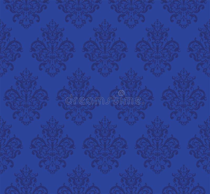 Blaues nahtloses wiederholendes Vektor-Muster Elegantes Design in der barocken Art-Hintergrund-Beschaffenheit vektor abbildung