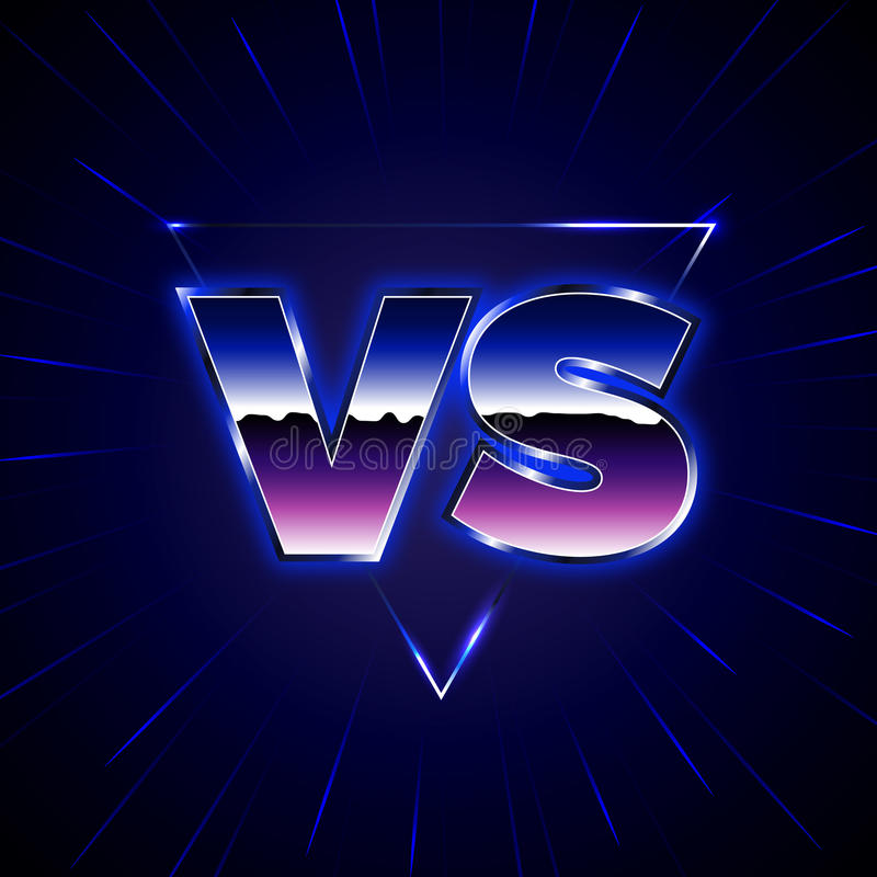 Blaues Neon gegen Emblem GEGEN Vektor beschriftet Illustration vektor abbildung