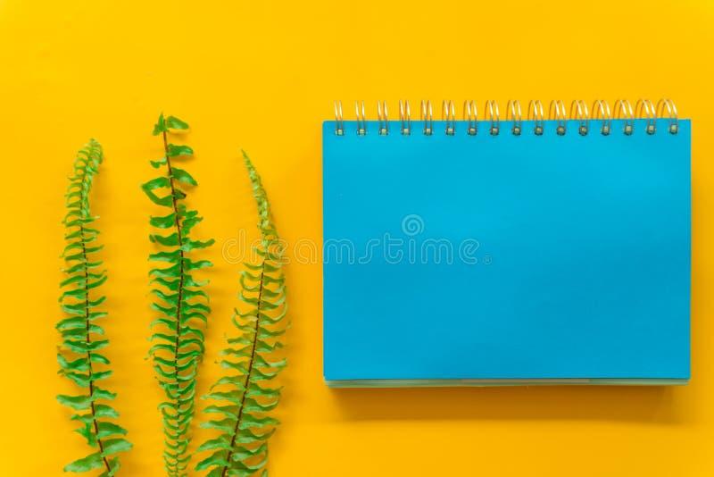 Blaues Notizbuch Gr?n verl?sst minimal auf gelbem Hintergrund lizenzfreie stockfotografie