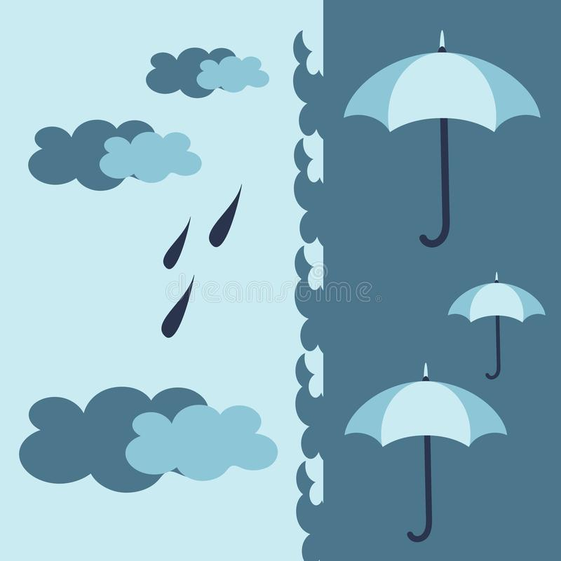 Blaues Oberflächenmuster mit Regenschirmen, Wolken und Regen in den kühlen weichen Palettenfarben Gewebe, Tapete, Entwurf einwick lizenzfreie abbildung