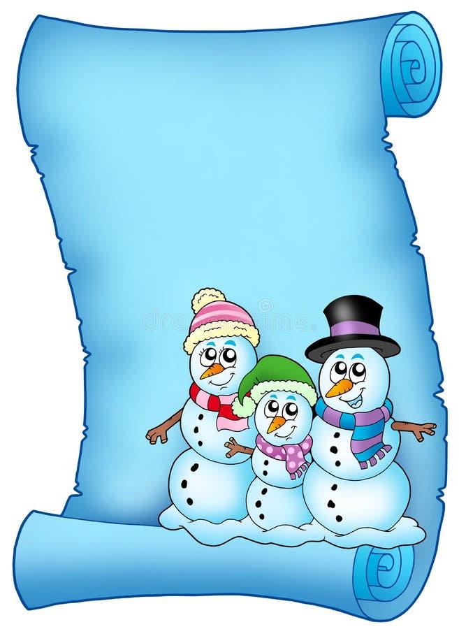 Blaues Pergament mit Schneemannfamilie stock abbildung