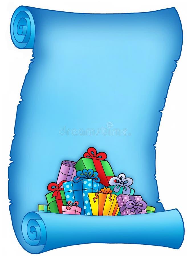 Blaues Pergament mit Stapel der Geschenke lizenzfreie abbildung