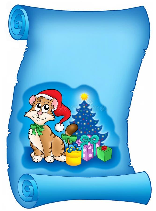 Blaues Pergament mit Weihnachten vektor abbildung