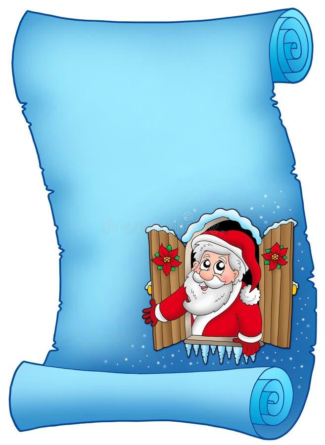 Blaues Pergament mit Weihnachtsfenster stock abbildung