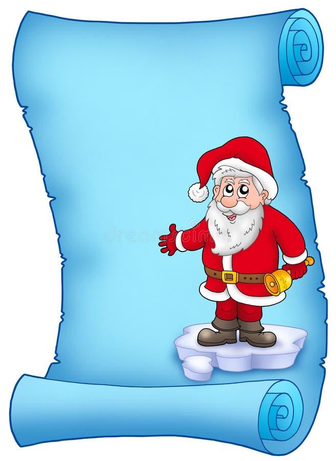 Blaues Pergament mit Weihnachtsmann 1 stock abbildung