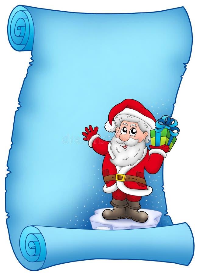 Blaues Pergament mit Weihnachtsmann 5 lizenzfreie abbildung