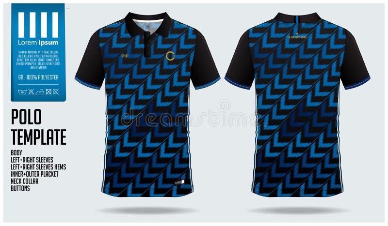 Blaues Pfeil-Polohemd-Sportschablonendesign für Fußballtrikot, Fußballausrüstung oder sportwear Sportuniform in der Vorderansicht vektor abbildung