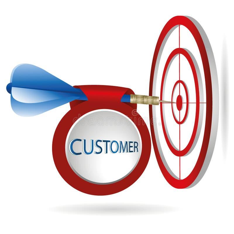 Blaues Pfeilzielziel Erfolgreiches Trieb mit Kundenfahne lizenzfreie abbildung