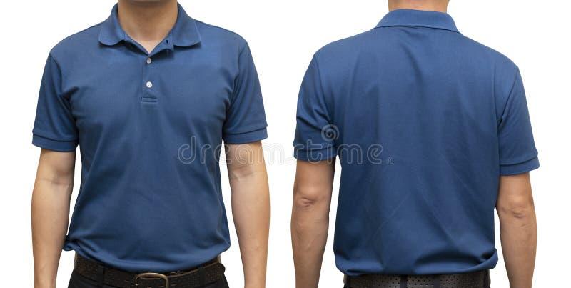 Blaues Polot-shirt auf menschlichem Körper für Grafikdesignspott oben stockfotos