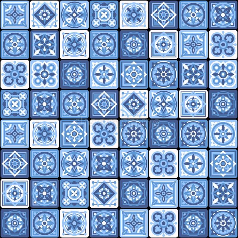 Blaues portugiesisches keramisches Mosaik-Fliesen-nahtloses mit Blumenmuster Vektor vektor abbildung