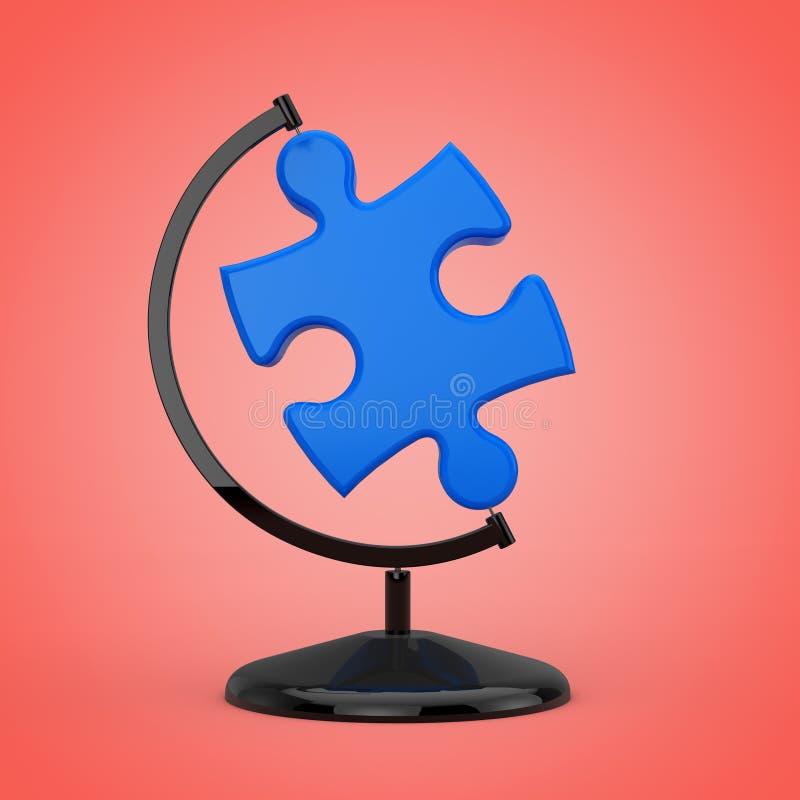 Blaues Puzzle-Stück in Form der Erdkugel Wiedergabe 3d vektor abbildung
