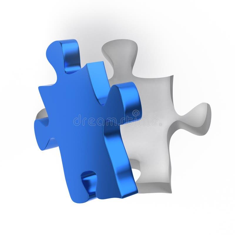 Blaues Puzzlespiel-Einzelstück mit vollkommenem Pass-Sitz vektor abbildung
