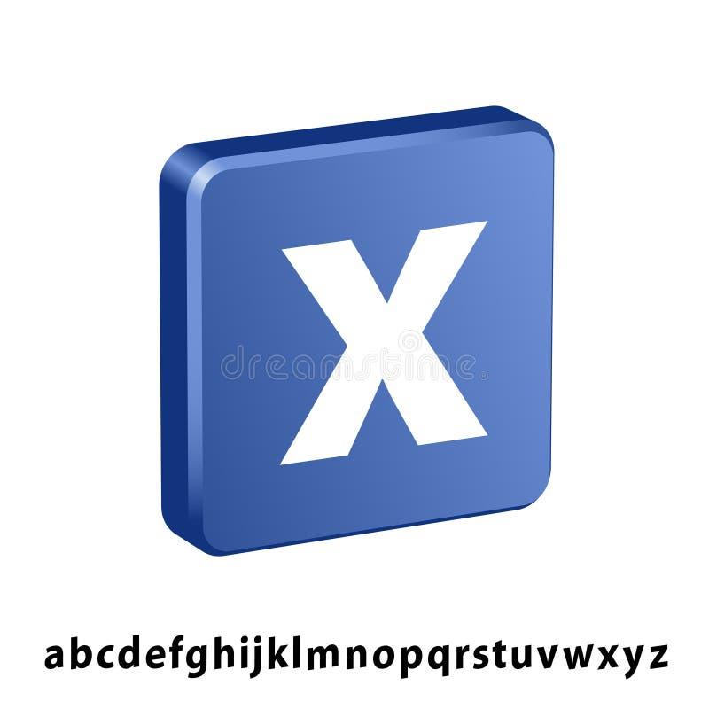 blaues Quadrat 3D irgendeine Buchstabeikone lizenzfreie abbildung