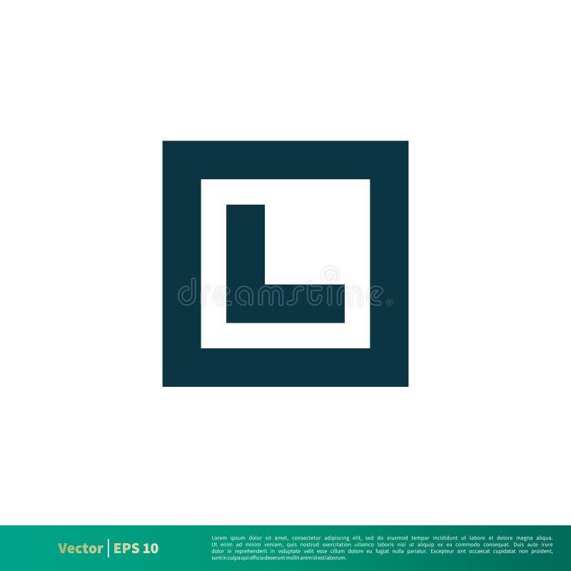 Blaues Quadrat L Buchstabe-Ikonen-Vektor Logo Template Illustration Design Vektor ENV 10 vektor abbildung
