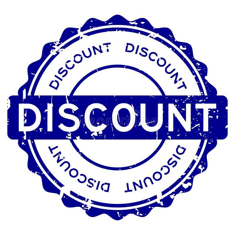 Blaues Rabattwort des Schmutzes ringsum Gummisiegelstempel auf weißem Hintergrund lizenzfreie abbildung