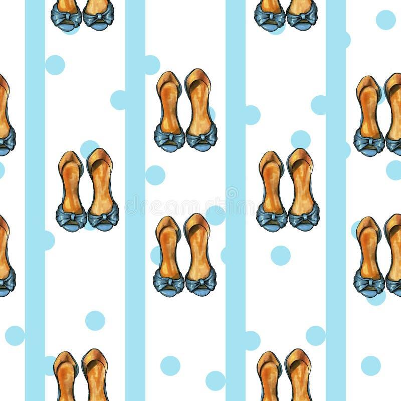 Blaues Retro- Muster mit dits und blaue Schuhe stock abbildung