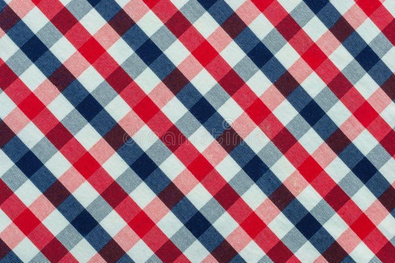 Blaues, rotes und weißes Plaid-Gewebe lizenzfreie stockfotografie