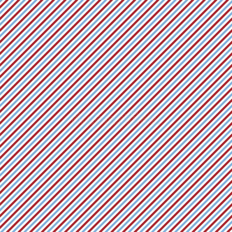 Blaues, rotes und weißes diagonales Muster stock abbildung