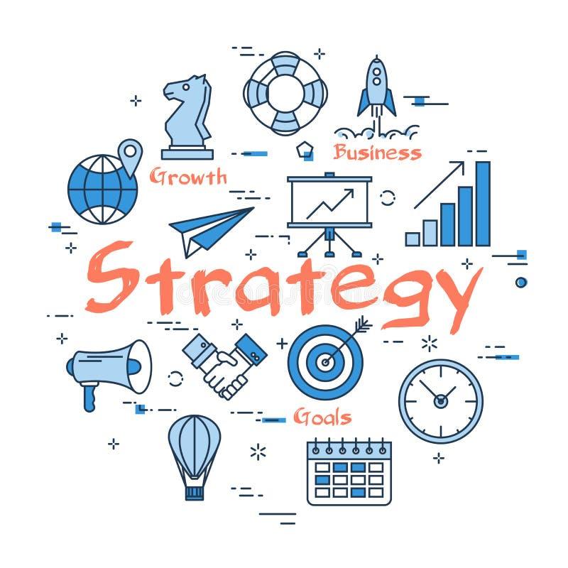Blaues rundes Strategiekonzept lizenzfreie abbildung