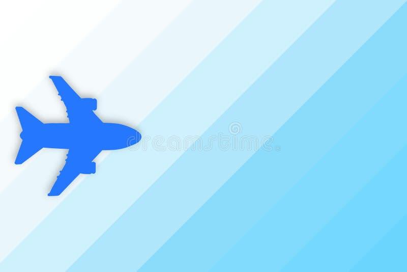 Blaues Schattenbild der Fläche auf blauem Steigungshintergrund mit Kopienraum Reise-, Reise- und Flugkonzept vektor abbildung