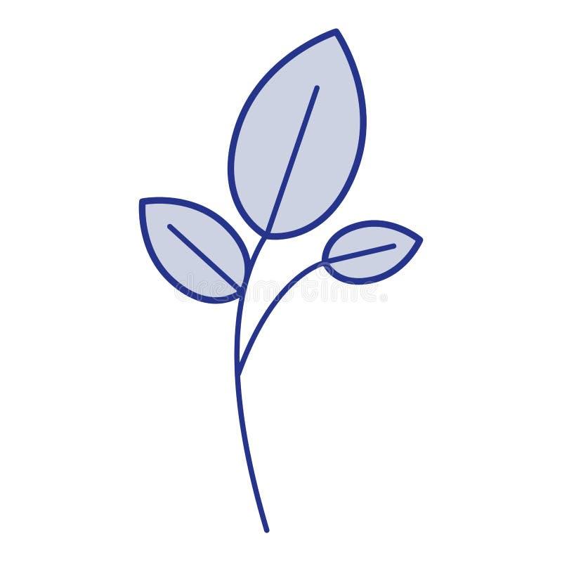 Blaues Schattenbild der Niederlassung und der Blätter lizenzfreie abbildung