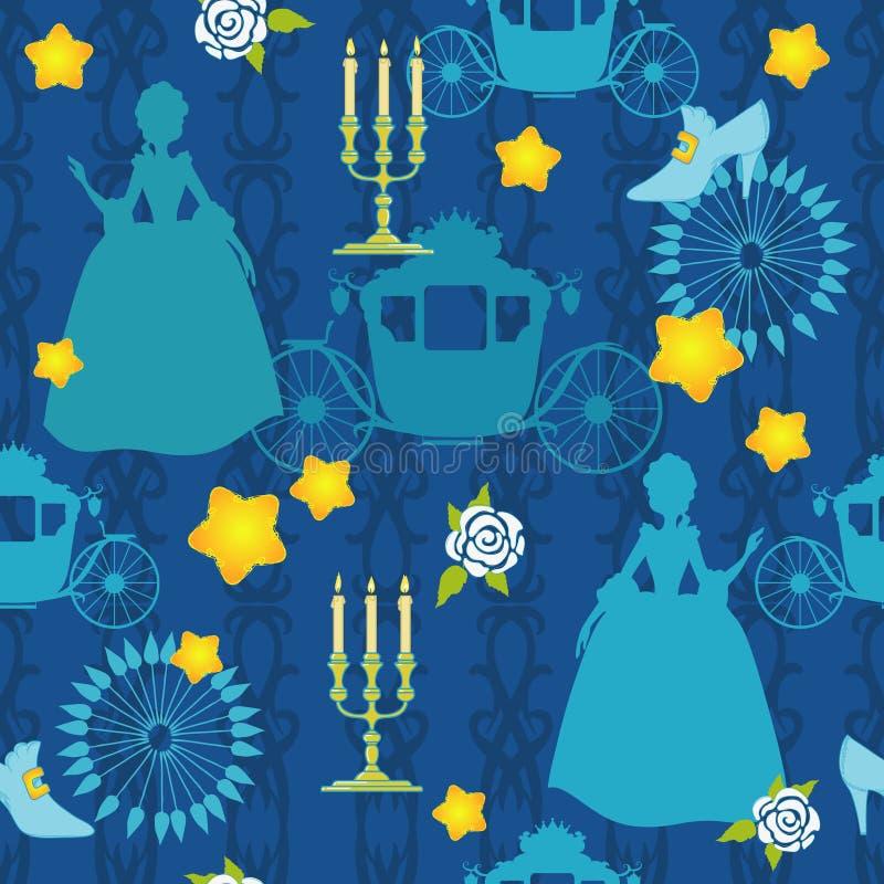 Blaues Schattenbild von Prinzessin lizenzfreie abbildung