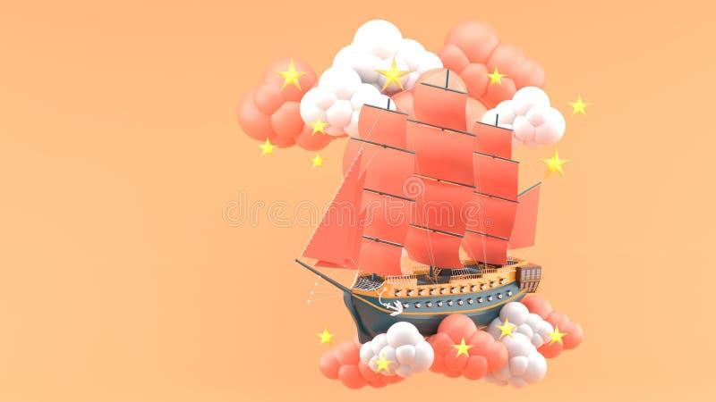Blaues Schiff mit den orange Segeln, die in die Wolken und in die Sterne auf dem orange Hintergrund schwimmen vektor abbildung