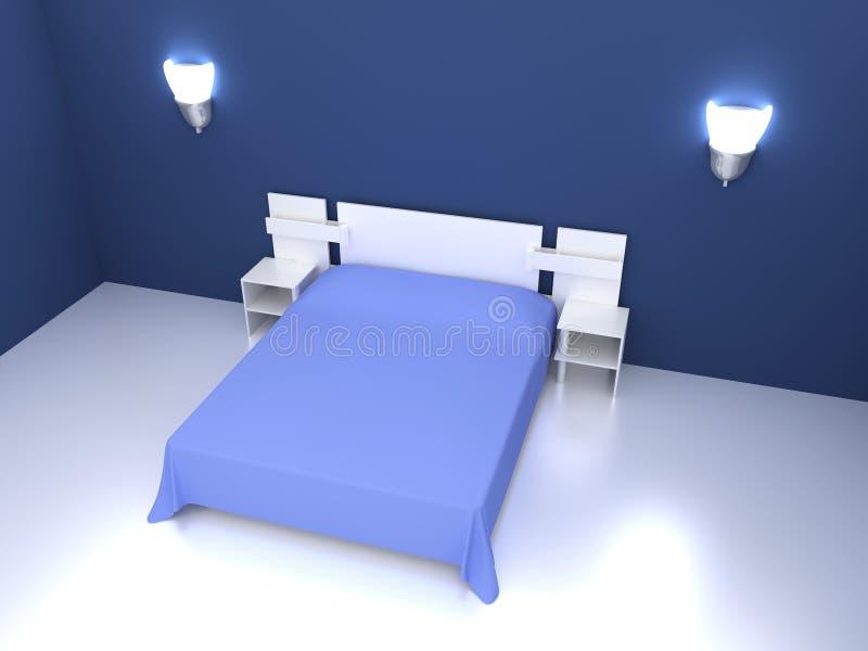 blaues schlafzimmer stock abbildung illustration von bettw sche 12024198. Black Bedroom Furniture Sets. Home Design Ideas