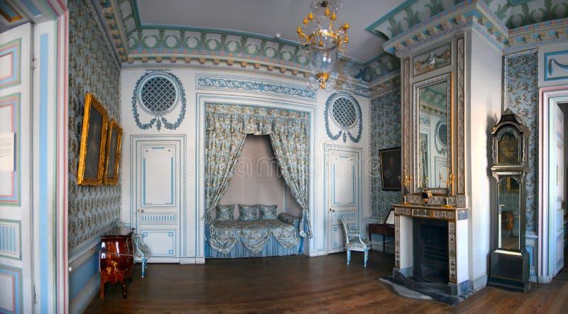 Blaues Schlafzimmer in Kuskovo lizenzfreie stockfotos