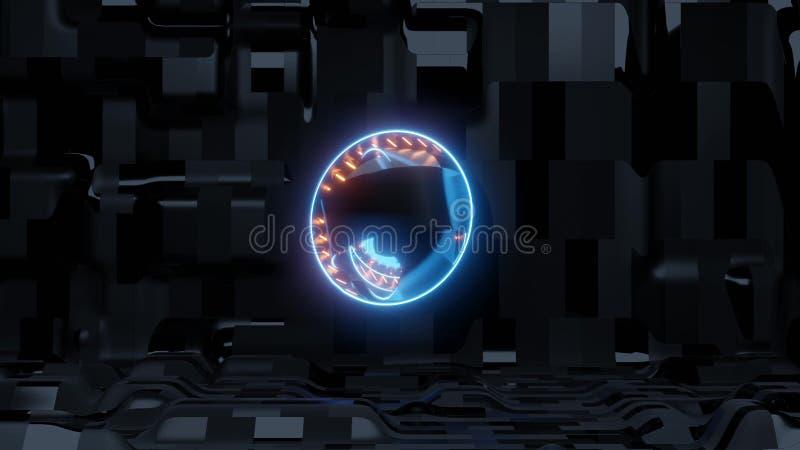 Blaues Scifiauge mit ausl?ndischem Schiffshintergrund und orange Lichtern lizenzfreie abbildung