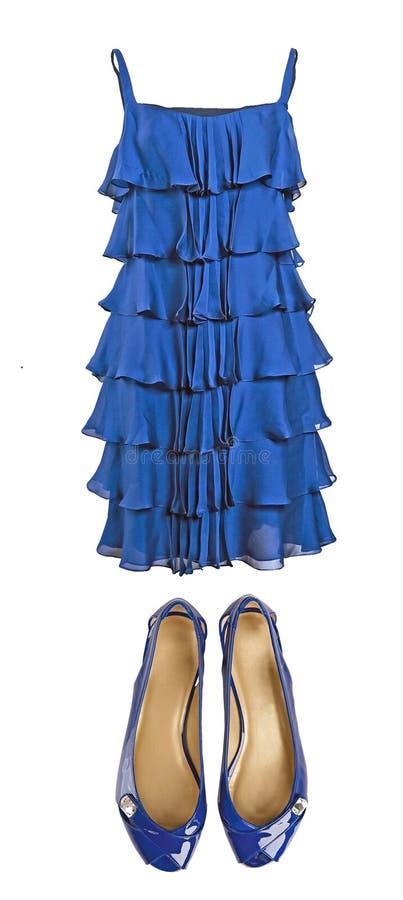 blaues silk kleid und schuhe stockbild bild von weinlese couture 8540851. Black Bedroom Furniture Sets. Home Design Ideas