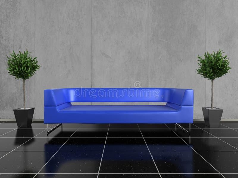 Blaues Sofa stock abbildung. Illustration von möbel, entwerfer ...