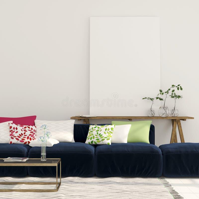 Blaues Sofa Und Eine Hölzerne Konsole Mit Einem Segeltuch Stockbild ...