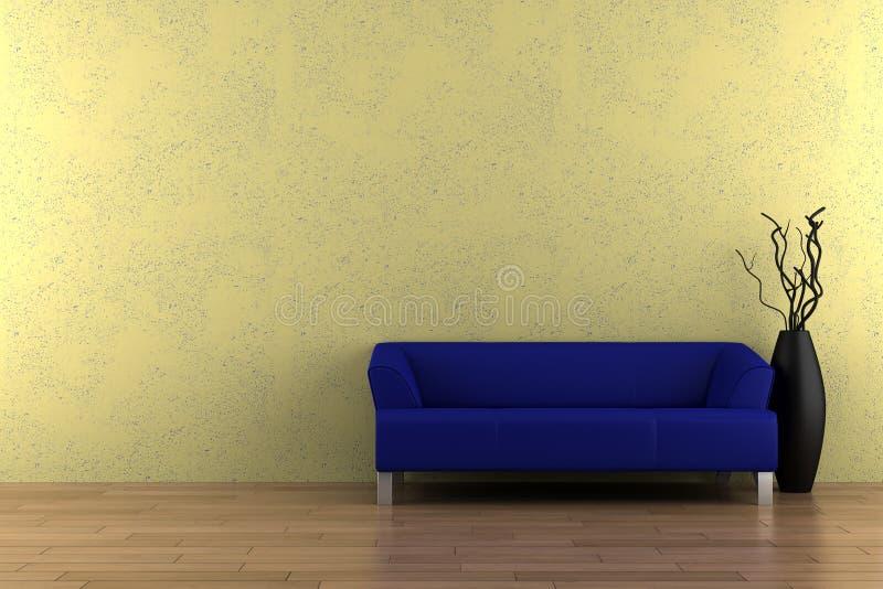 Blaues Sofa und Vase vor gelber Wand lizenzfreie abbildung
