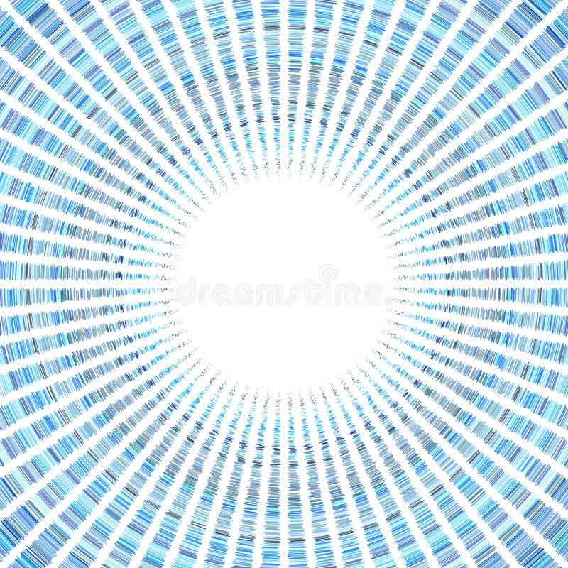 Blaues Sonnenradialmuster auf Weiß vektor abbildung