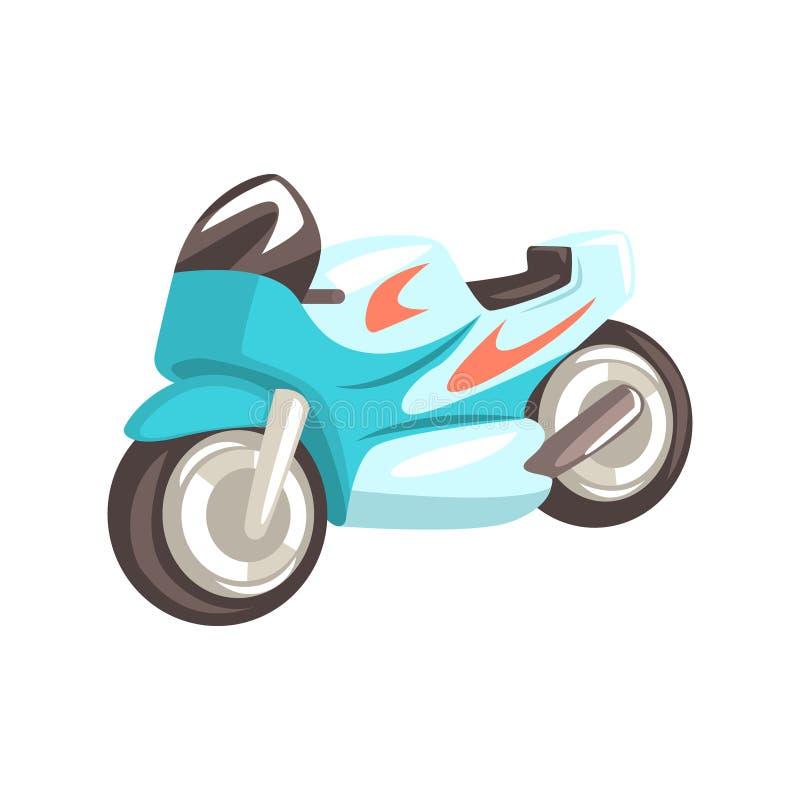 Blaues sportives Motorrad, in Verbindung stehendes Gegenstand-Teil des Rennläufer-Attribut-Illustrations-Satzes laufend vektor abbildung