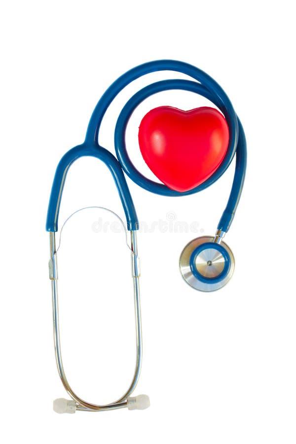 Blaues Stethoskop mit rotem Herzen stockfotos