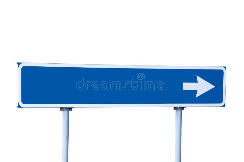 Blaues Straßen-Pfeil-Zeichen getrennt auf Weiß stockbild