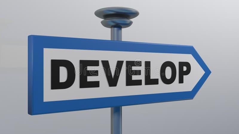 Blaues Straßenpfeil-Schild DEVELOP - 3D-Darstellung vektor abbildung