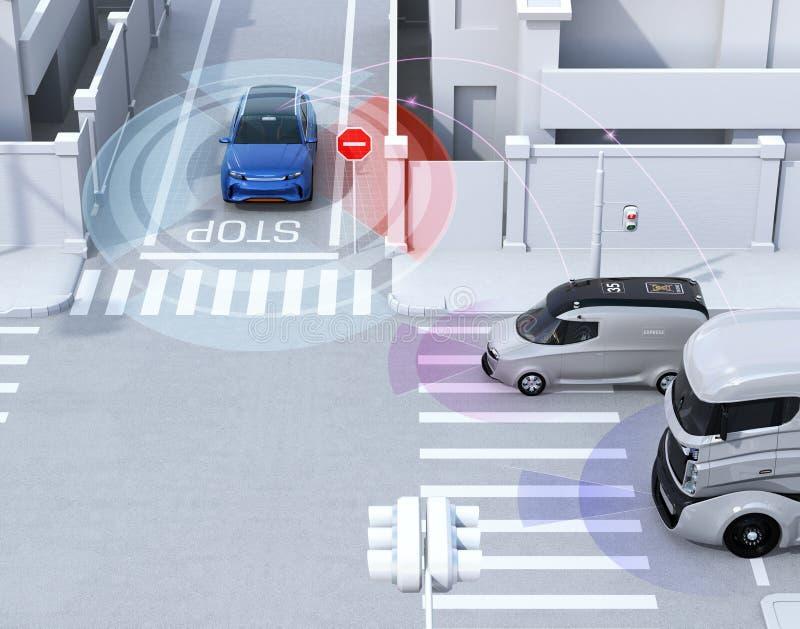 Blaues SUV in der Einbahnstraße ermittelte Fahrzeug im blinden Fleck vektor abbildung