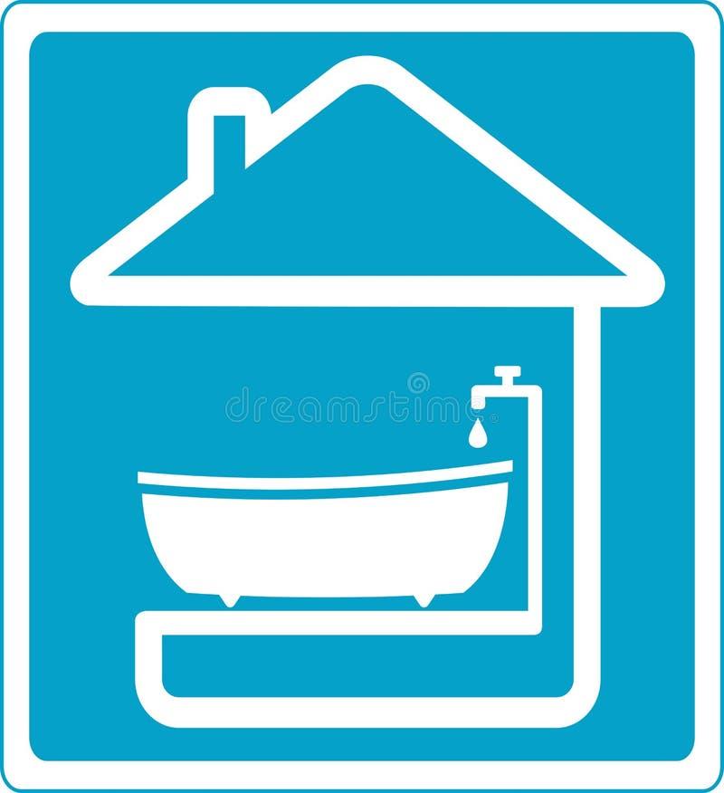 Blaues Symbolbadezimmer im Haus lizenzfreie abbildung
