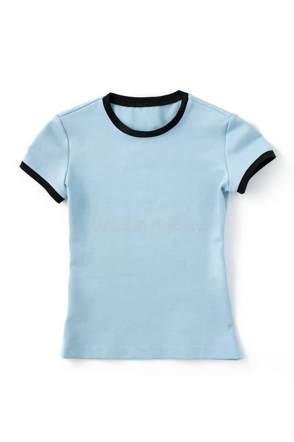 Blaues T-Shirt Modell auf weißem Hintergrund lizenzfreies stockbild