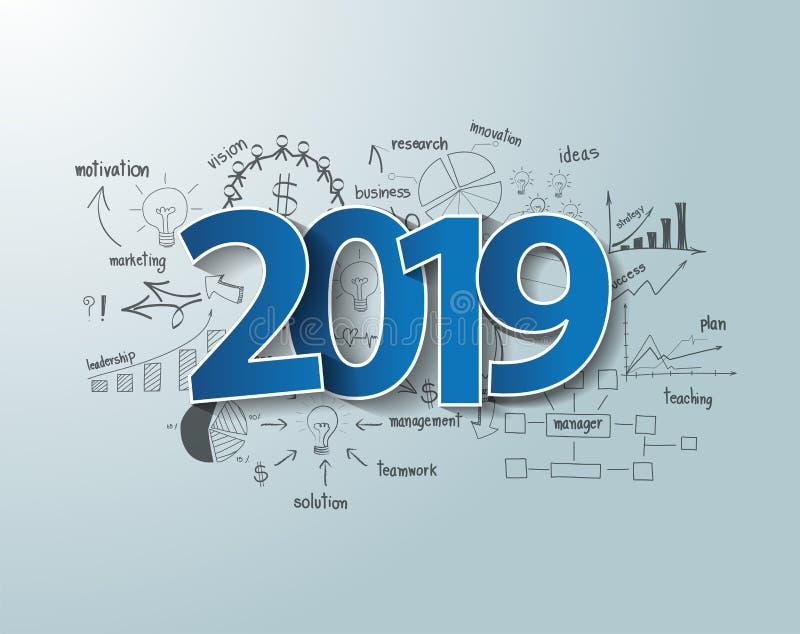 Blaues Textdesign des Tagaufklebers 2019 auf Brainstormingszeichnungsdiagrammen und -diagrammen stock abbildung