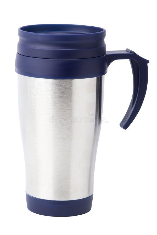 Blaues thermocup Getrennt auf weißem Hintergrund lizenzfreie stockfotografie