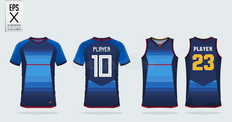Blaues Trikot mit roter Streifensporthemd-Designschablone für Fußballtrikot, Fußballausrüstung und Trägershirt für Basketballtrik lizenzfreie abbildung