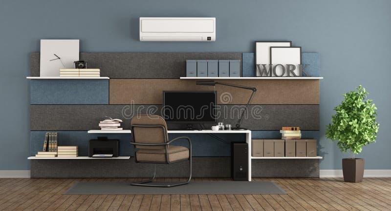 Blaues und braunes modernes Büro lizenzfreie abbildung